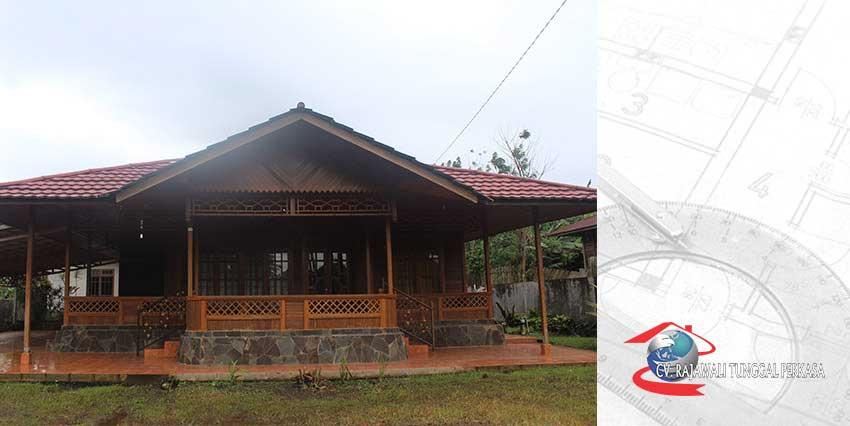 Harga Rumah Kayu Tipe 160 m2 (10m x 16m) lantai kramik