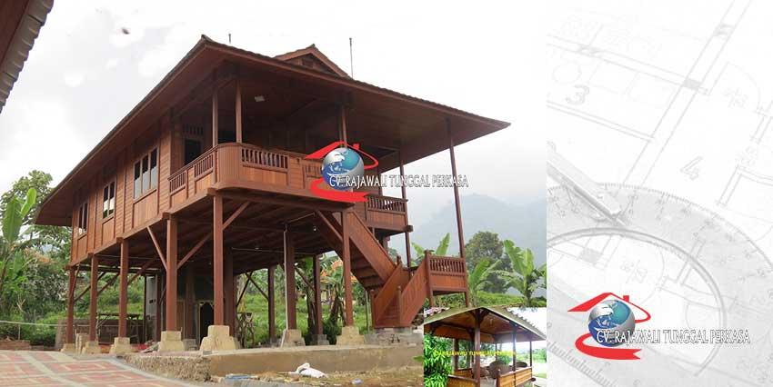 Harga rumah kayu Panggung Tipe 84 m2 (7 x 12)